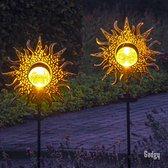 Gadgy Solar Zon met grondspies – Set van 2 st.– 103 cm hoog – brons kleurig metaal – Tuinverlichting op zonneenergie buiten – Led buitenverlichting met sensor - Tuinfakkel - Tuinsteker