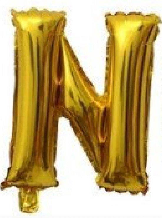 Folieballon / Letterballon Goud  - Letter N - 41cm