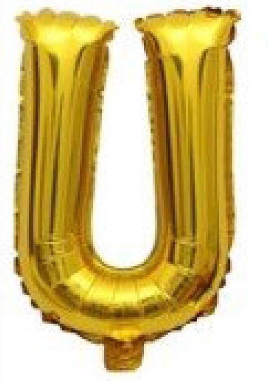 Folieballon / Letterballon Goud  - Letter U - 41cm