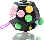Fidget Cube Toy Speelgoed - Kubus 12 speelkanten - Zwart pastel