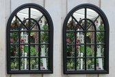 2 stuks Tuinspiegel Gotische Buitenspiegel, Kerkraam, tuin spiegel met frame, wandspiegel 60 x 46cm