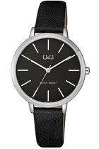 mooi strak Q&Q dames horloge met zwarte wijzerplaat QB57J302Y