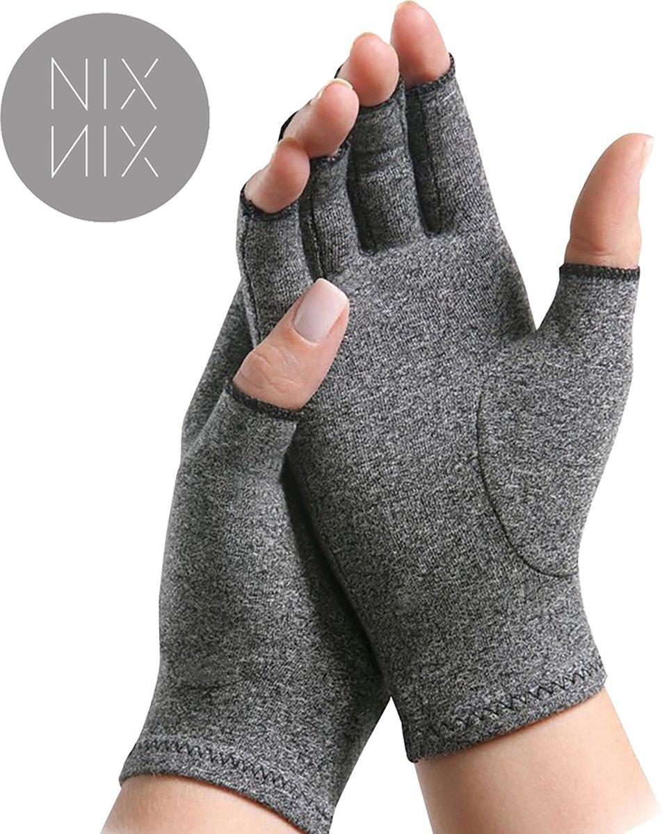 Nixnix Reuma Handschoenen - Artrose - artritis - Maat L - Thuiswerk handschoenen - Grijs - Compressi