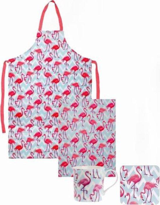 Flamingo theedoek + mok / tas / beker met onderzetter + keukenschort / kookschort
