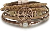 Armband Dames Rosegoud 18,5cm - Leren Wikkelarmband Galeara design Rosekleurig met Zand tinten Dames Levensboom Galeara design