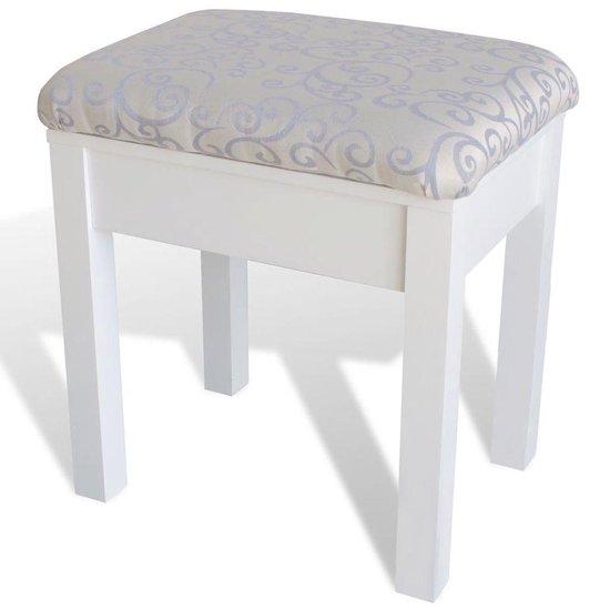 Kaptafel met stoel en spiegel (wit) - vidaXL