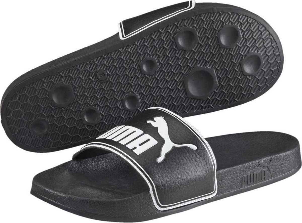 PUMA Leadcat Slippers Unisex - Black / White - Maat 44.5 - PUMA