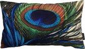 Pauwenveer Peacock / Feather Long #1 Kussenhoes | Katoen - Linnen | 30 x 50 cm
