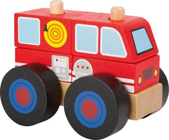 Houten brandweer auto - Bouwvoertuig -  Brandweerwagen hout - FSC - Speelgoed vanaf 2 jaar jongen