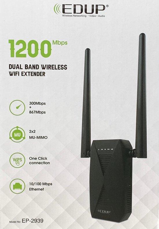 WiFi Versterker - Wifi Repeater - 1200 Mbps - Range Extender - hoge snelheid - Dual Band Met 5dBi Antenne
