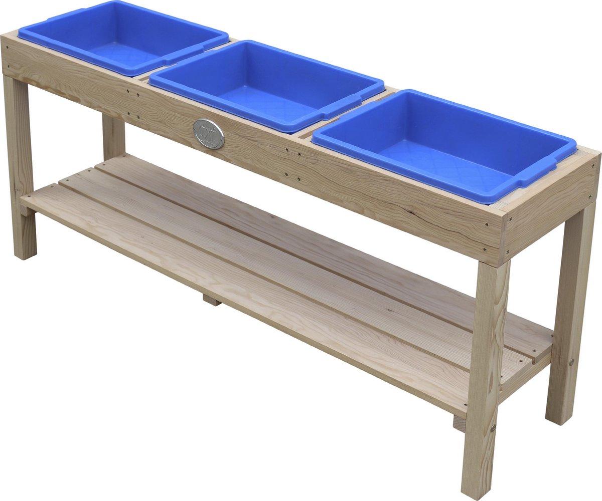 AXI Activiteiten Tafel met 3 blauwe bakken Naturel Bruin - Multi-inzetbare kindertafel voor diverse activiteiten