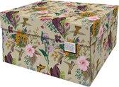 Dutch Design Brand - Dutch Design Storage Box - Opbergdoos - Opbergbox - Bewaardoos - Bloemen, Kolibrie, Vlinders - Botanical