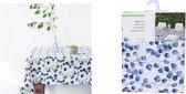 Tafelkleed stof - blauwe eucalyptus bladeren - tafelaankleding tafellinnen eettafel - tafelversiering diner - natuurlijke print royal blue - 130 x 180 cm