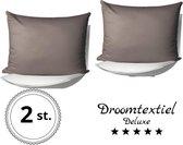 DroomTextiel Deluxe - Katoen / Satijnen Kussensloop 2 Stuks- 60 x 70 cm - Taupe - Hoogwaardige kwaliteit - Super Zacht -