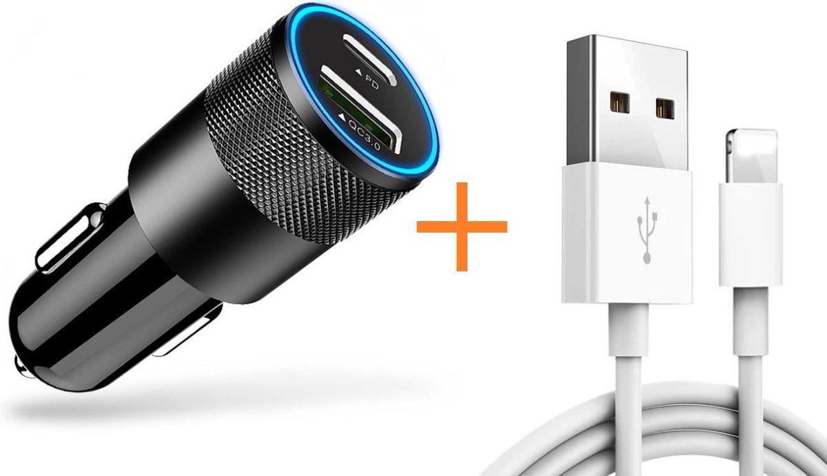 DutchOne Autolader USB-A & USB-C + iPhone Oplader Kabel - Snellader - Auto Lader Geschikt voor Apple iPhone & iPad - Sigarettenaansteker oplader