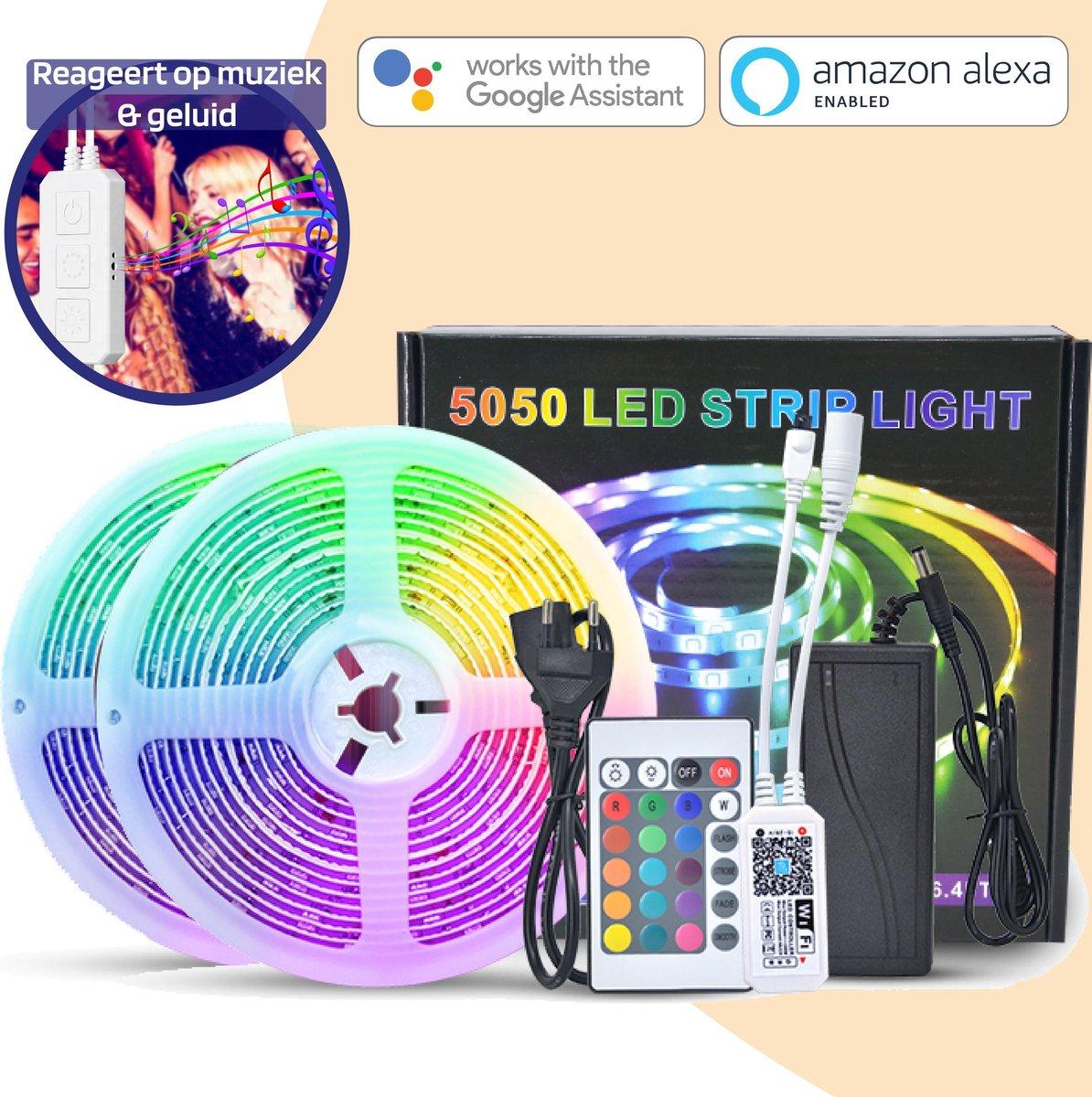 Smart Led Strip 10 Meter - Ledstrip - Led Strips - Werkt met Google Home en Alexa - Ledstrips - Smart Lamp - Lichtstrip - Met Afstandsbediening en App