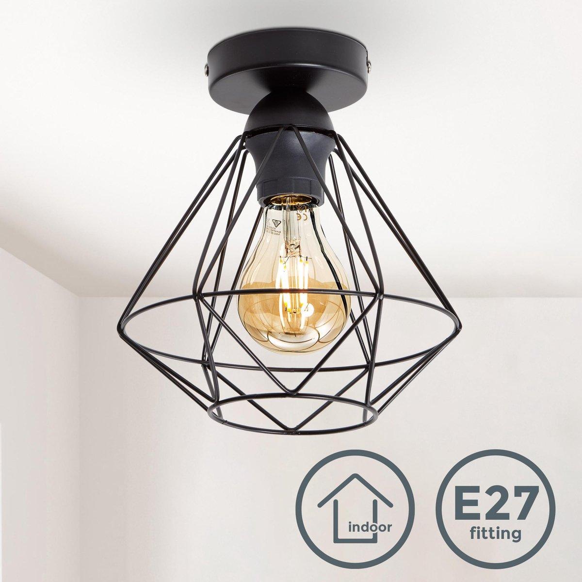 B.K.Licht - Plafondlamp - zwart - industrieel - retro - draad - vintage - woonkamer -  22cm - excl.