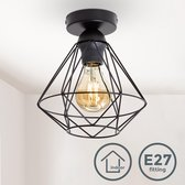 B.K.Licht - Plafondlamp - zwart - industrieel - retro - draad - vintage - woonkamer - Ø22cm - excl. E27