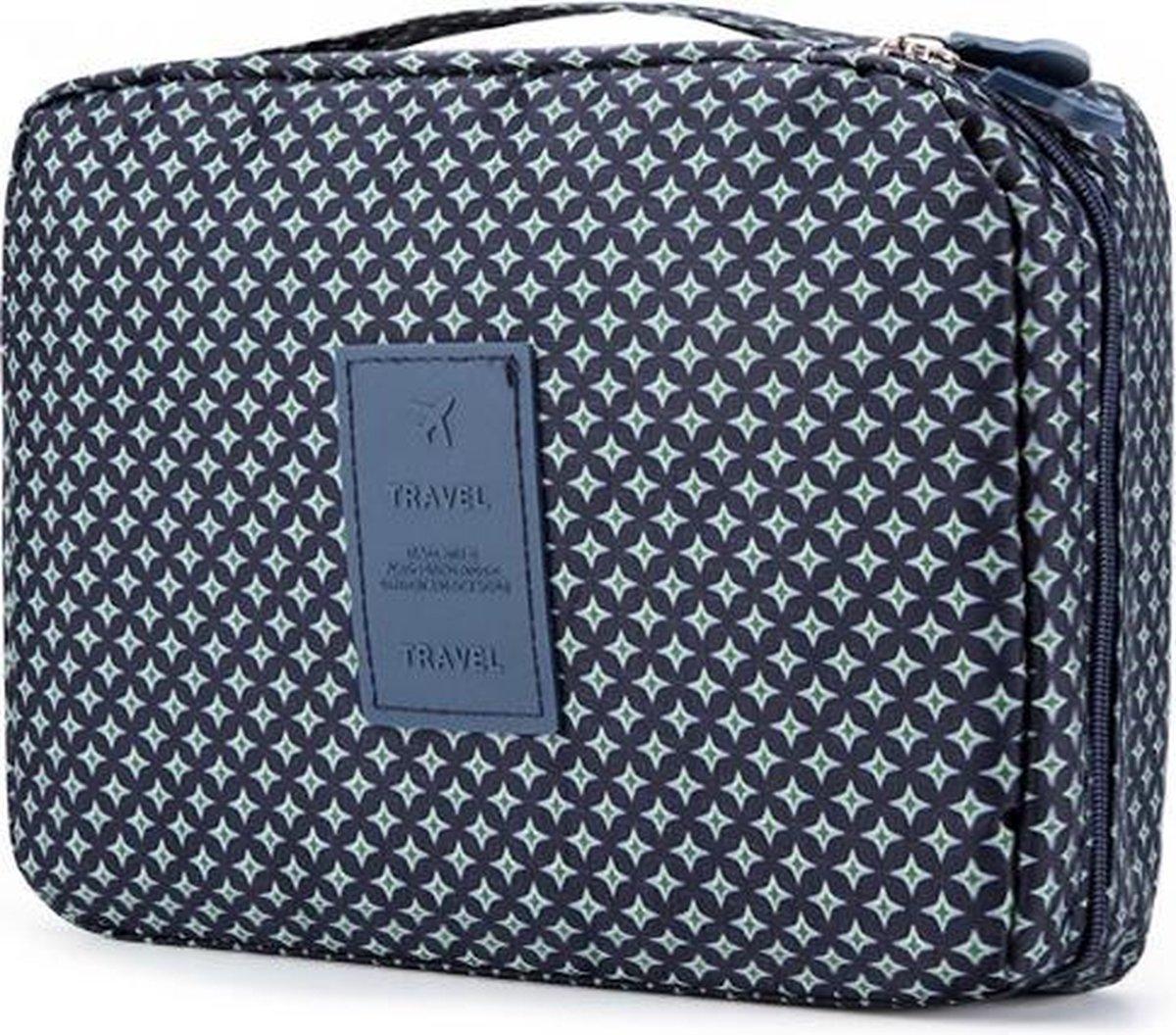 Travel 'Blue Star' Toilettas Blauw/Groen   Make Up Organizer/Travel Bag/Reistas   Fashion Favorite
