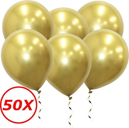 Luxe Chrome Ballonnen Goud 50 Stuks - Helium Ballonnenset Metallic Gold Feestje Verjaardag Party