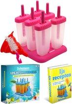 Dykemann Ijsjeshouder - ijsjes vormen - ijslolly - ijsvormpjes + trechter & schoonmaak borstel - BPA Vrij - ROZE - Siliconen - 6 stuks + levenslange ijs recepten e-Book