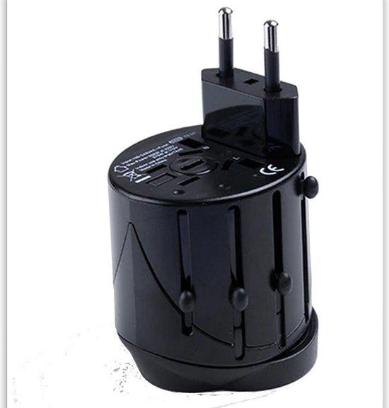 All-in-one Wereldstekker - Internationale Reis adapter - Stekker Voor UK US USA AU EU Wereld Reizen - Travel Socket Plug Converter - Design Zwart Grijs