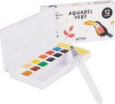12 Kleuren Aquarelverf Beginner Set  - Inclusief Water Brush Pen  - Waterverf Pakket Volwassenen & Kinderen  - Waterbrush