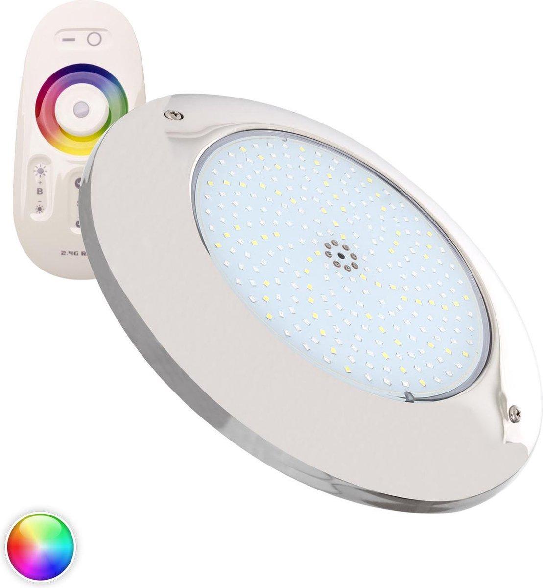 Zwembadlamp Opbouw LED 12V DC 20 W RGBW RVS zwembad verlichting - onderwater verlichting - licht