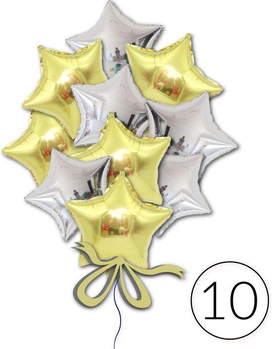 10 Folie Ballonnen Ster Goud Zilver voor Verjaardag, Feestversiering, Themafeest, Glitter & Glamour Party   Geschikt voor Helium