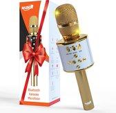 NAZROM® Karaoke Microfoon, Draadloos, Superieur Geluidskwaliteit met LED lampjes en Magische Stemmen Voor Een Gezellig Feest - Goud