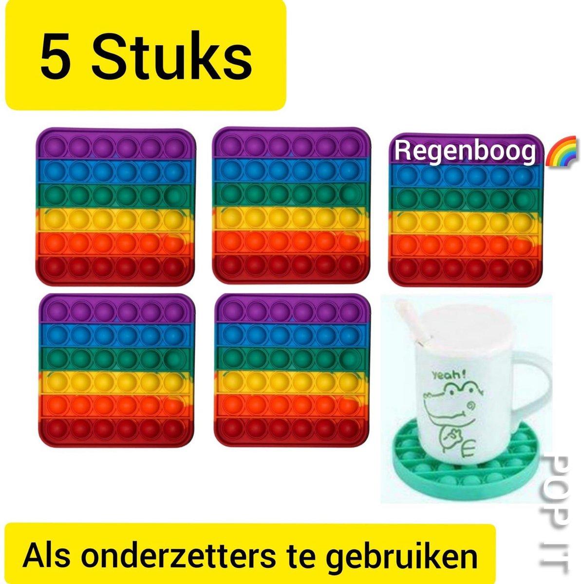 Pop It | Fidget toys | Pakket van 5 stuks | 5x Vierkant regenboog rainbow | Speelgoed meisjes + jongens + volwassen | Pop It | Fidget toy | Leuk als onderliggers te gebruiken _ Leuk voor zwembad