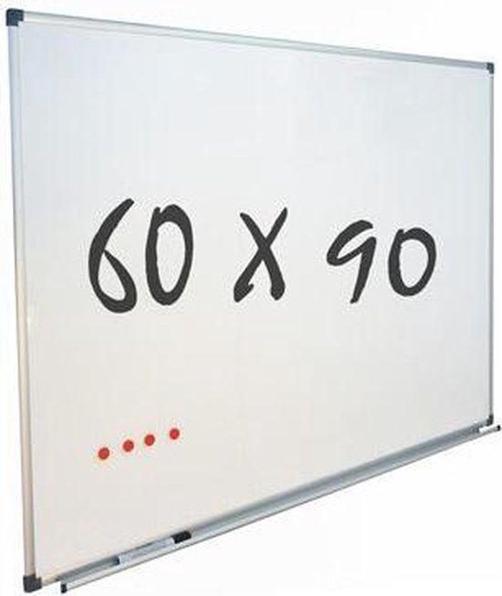 Afbeelding van Whiteboard 60x90 cm - Magnetisch - Magneetbord / Memobord / Planbord / Schoolbord