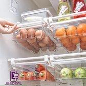 JS2DEAL - Transparante koelkast organizer - extra lade in koelkast - doorzichtig met scheiding - verstelbaar