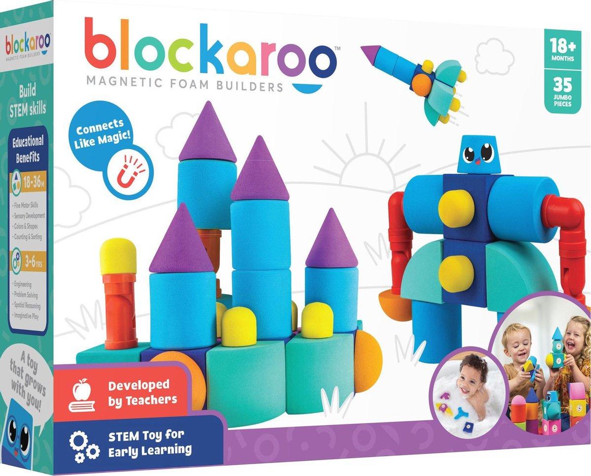 Blockaroo kasteel box-35 stuks-magnetisch speelgoed-peuter speelgoed-speelgoed 1,2,3,4,5 jaar-badspeelgoed-badspeeltjes