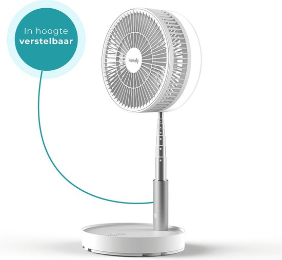 Homefy Draadloze 4-in-1 Ventilator - Tafelventilator, Vloerventilator, Statiefventilator - Wit
