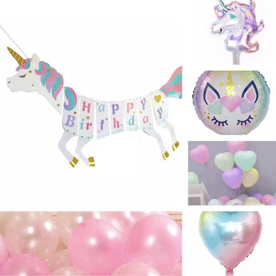 Feest versiering -  Verjaardag Unicorn - Banner - Ballonnen - Pakket
