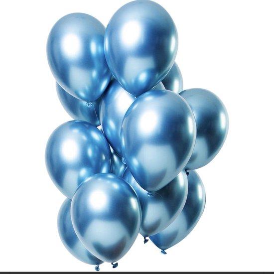 Ballonnen Verjaardag Versiering Balonnen ballon Party Feest Metallic - Decoratie - Blauw - 12 stuks - Lets Decorate®