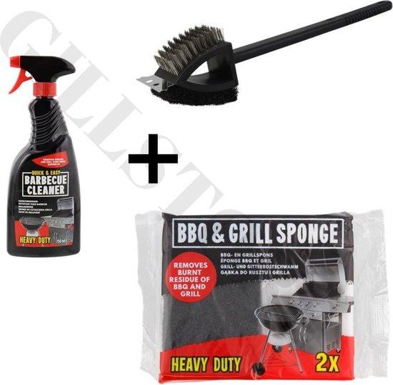 --NIEUW--NIEUW-- Barbecue Grill Schoonmaakset XXL - Borstel 3 in 1 + Barbecue- en Grillspons - Heavy Duty 2 Stuks - Barbecue Cleaner (Heavy Duty) - Onmisbaar voor de BBQ Liefhebber - Gilleo --NIEUW--NIEUW--