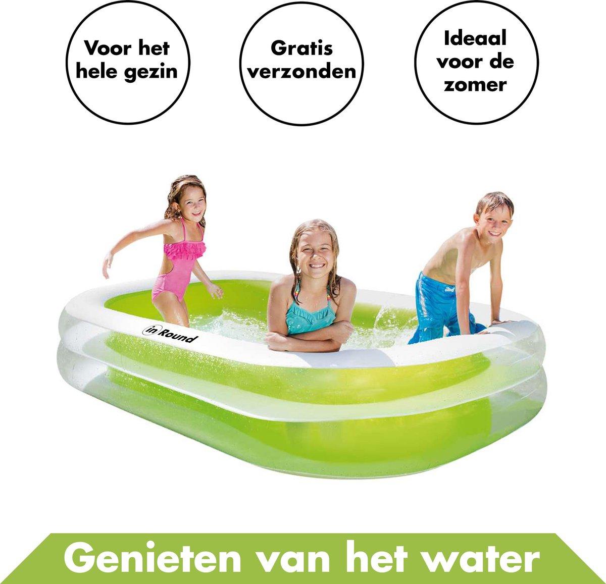 Opblaasbaar Zwembad - 262 x 175 x 56 cm - Blauw/Groen - Voor Kinderen en Volwassenen - Vinyl - Familie - Opblaaszwembad - Rechthoekig - Waterpret - Zwembaden - Opblaasbare - Swimming Pool - Inflatable - Tuin - Zwemmen - Groot - Zomer Speelgoed Buiten