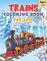 Trains Coloring Book for Kids Ages 4-8