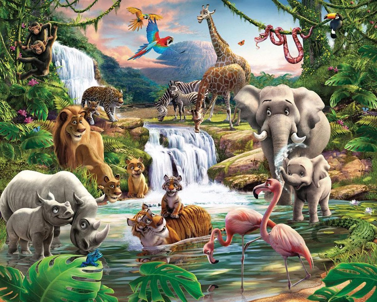 Walltastic Kinderbehang - Jungle Safari - 305 x 244cm