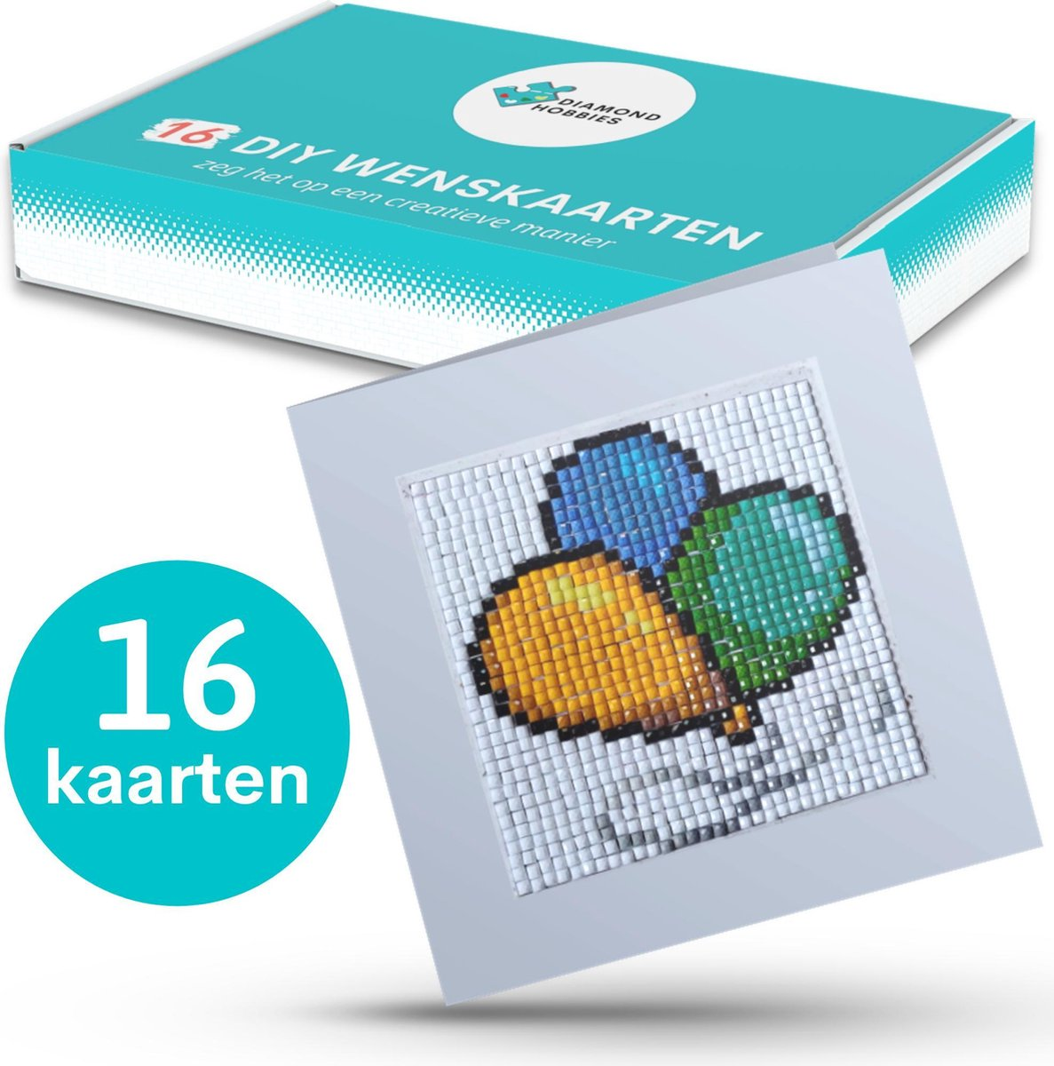 Diamond Painting Kaarten van Diamond Hobbies | 16 kaarten | 12x12cm | Verjaardagskaarten | Kerstkaarten | Diamond Painting Wenskaarten | Vaderdag kaart | Diamond Painting Kaartenset