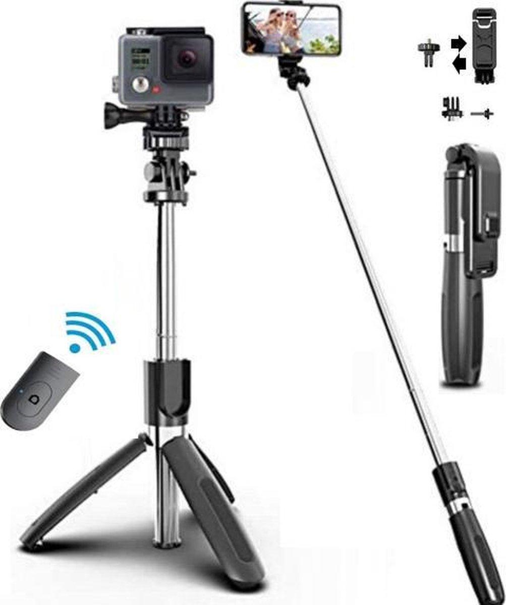 Selfie Stick Universeel - Voor Smartphone en Action Camera / GoPro - Tripod - 3in1 SelfieStick - Blu
