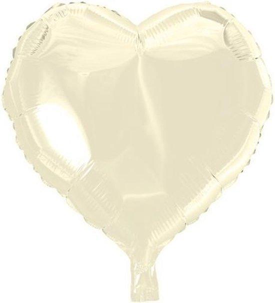 Globos Folieballon Hartvorm 45 Cm Ivoor