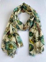 Sjaal met een mix van bloemen in de kleur groen