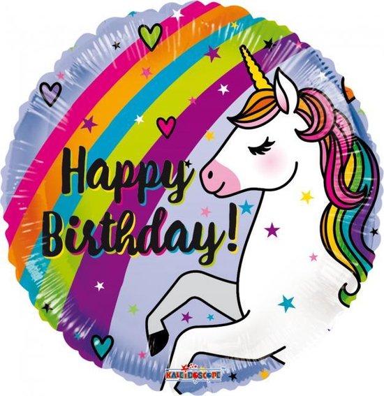 Helium Ballon Happy Birthday Unicorn Regenboog 45cm leeg