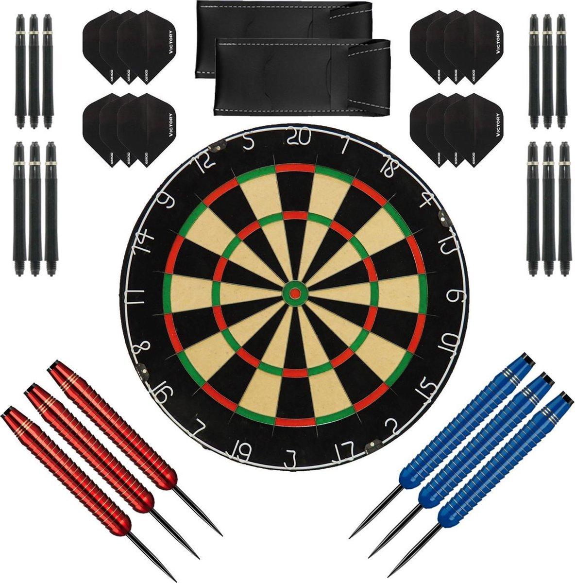 Dragon Darts complete Shark dartset - XQ-Max plain - dartbord - dart shafts - dart flights - dartpijlen 24 gram - 100% brass - 2 sets - dartpijlen - rood-blauw