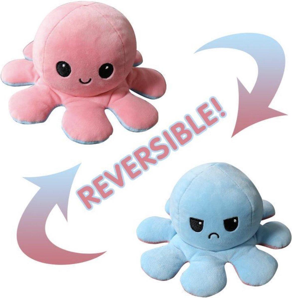 Lilly's & Billy's® Knuffel Octopus Roze/Blauw  - Mood Knuffel Omkeerbaar - Reversible Octopus - Octo