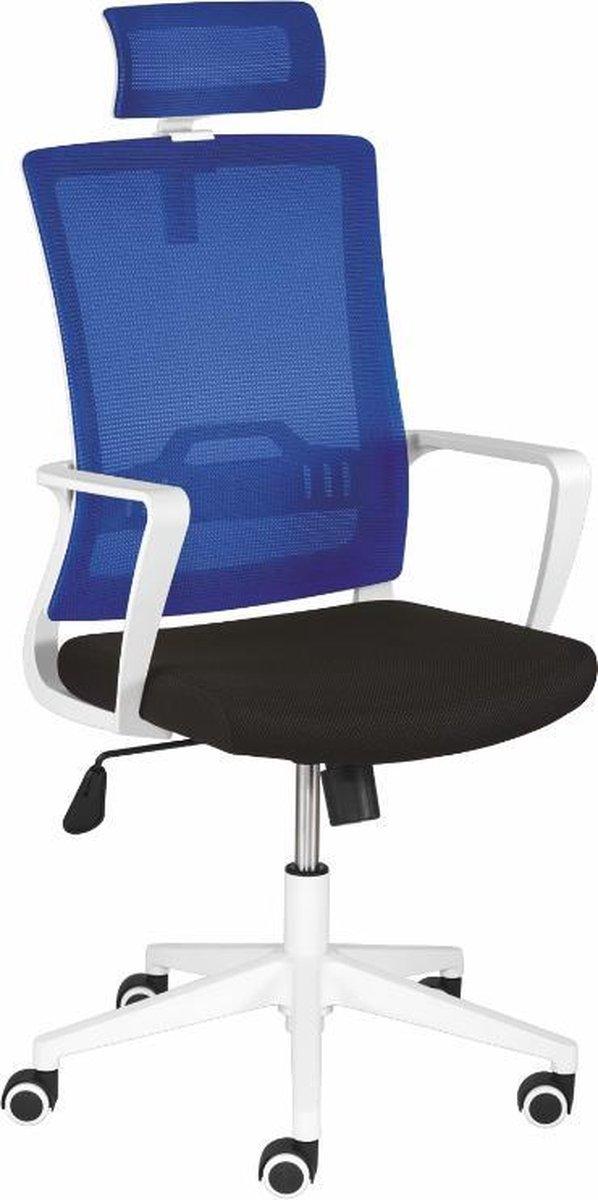 Nancy's Harriman Bureaustoel - Draaistoel - Mesh - Hoogte Verstelbaar - Armleuningen - Gestoffeerd - Lendensteun - Kantelmechanisme - Kunststof - Blauw - Wit - Zwart - 61.5 x 52 x 99-109 cm