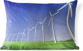 Buitenkussens - Tuin - Een illustratie van een rij windmolens - 50x30 cm